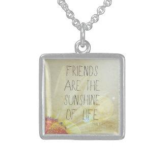 Vriendschap & Zonneschijn Ketting Vierkant Hangertje