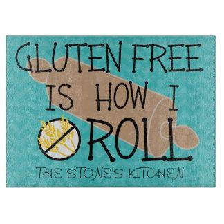 Vrije het gluten is hoe ik Blauwgroen Chevron rol Snijplank
