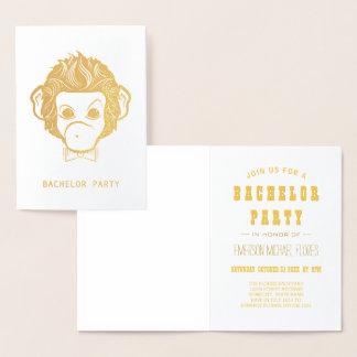 vrijgezel partij mijnheer monkey gold folie kaarten
