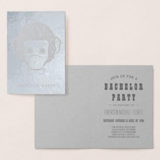 vrijgezel partij mijnheermonkey zilver folie kaarten