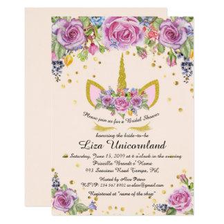 Vrijgezellenfeest die, eenhoorn, roze, bloemen kaart