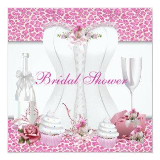 Vrijgezellenfeest Witte Roze Cupcakes Champagne 13,3x13,3 Vierkante Uitnodiging Kaart