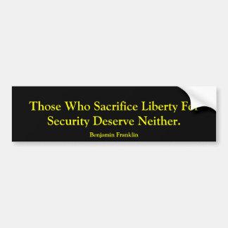 Vrijheid versus Veiligheid Bumpersticker