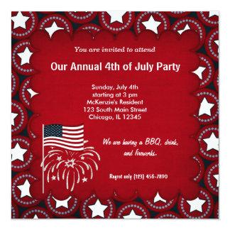 Vrijheid vierde van Juli 13,3x13,3 Vierkante Uitnodiging Kaart
