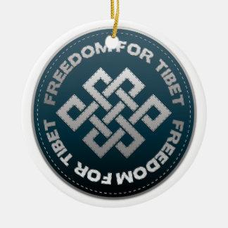 Vrijheid voor de Steek van Tibet Rond Keramisch Ornament
