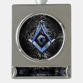 Vrijmetselaars- Meningen (BlueSwish) Verzilverd Banner Ornament