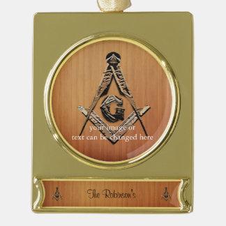 Vrijmetselaars- Meningen (GoldenWooded) Verguld Banner Ornament