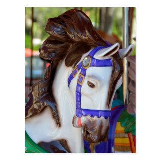 Vrolijk-gaan-rond paard briefkaart