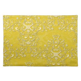 Vrolijk Geel BloemenDamast Placemat