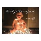 Vrolijk Kerstfeest Kerstmis Foto Blauw Wit Strepen Kaart