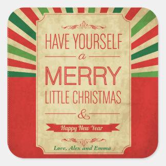 Vrolijk Weinig Kerstmis en Gelukkig Nieuwjaar Vierkante Sticker
