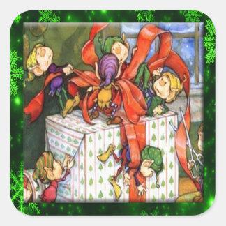 Vrolijke Elf die Huidige Vierkante Stickers