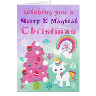 Vrolijke en Magische Kerstmis van de Eenhoorn Kaart
