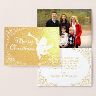 Vrolijke Gepersonaliseerd Gouden van Kerstmis Folie Kaarten
