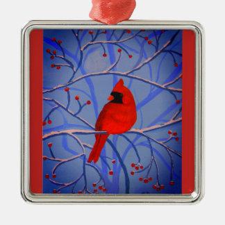 Vrolijke hart Hoofdorniment Zilverkleurig Vierkant Ornament