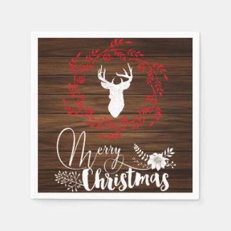 Vrolijke houten de vakantieservetten van Kerstmis Papieren Servet