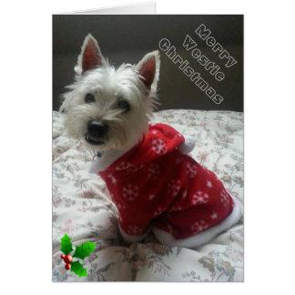 Vrolijke Kerstkaart Westie voor uw Vriend Briefkaarten 0