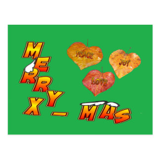 Vrolijke Kerstmis & 3 hart gestalte gegeven Briefkaart