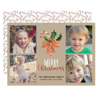 Vrolijke Kerstmis 4 het Riet van het Snoep van de Kaart