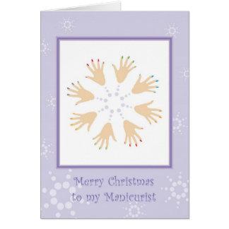 Vrolijke Kerstmis aan Manicure Kaart