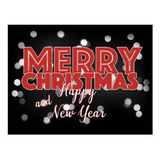 Vrolijke Kerstmis Bokeh op Zwarte Briefkaart