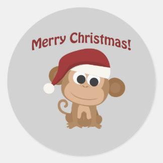 Vrolijke Kerstmis! De Aap van de kerstman Ronde Sticker