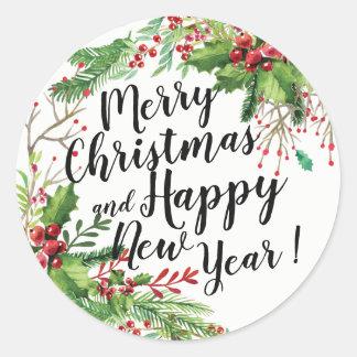 Vrolijke Kerstmis & de Gelukkige Groeten van de Ronde Sticker