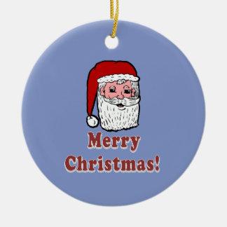 Vrolijke Kerstmis de Kerstman Rond Keramisch Ornament