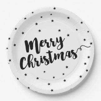 Vrolijke Kerstmis - de typografie en de sterren Papieren Bordje