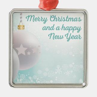 Vrolijke Kerstmis, gelukkig nieuw jaar Zilverkleurig Vierkant Ornament