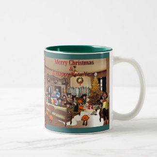 Vrolijke Kerstmis & Gelukkig Nieuwjaar! Tweekleurige Koffiemok