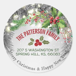 Vrolijke Kerstmis & het Gelukkige Adres van de Ronde Sticker