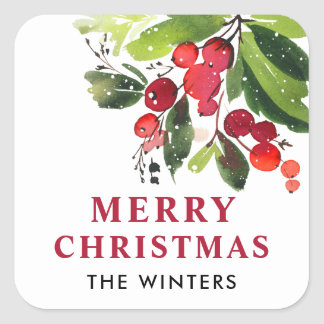 Vrolijke Kerstmis | Kerstmis van de Waterverf Vierkante Sticker