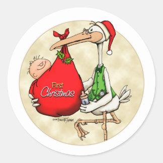 Vrolijke Kerstmis - Nieuw Baby Ronde Sticker