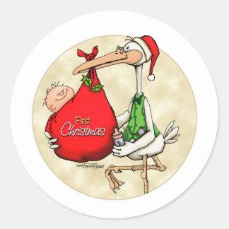 Vrolijke Kerstmis - Nieuw Baby Ronde Stickers