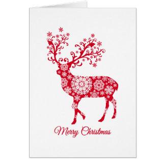 Vrolijke Kerstmis, rode herten met sneeuwvlokken Kaart
