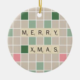 Vrolijke Kerstmis Rond Keramisch Ornament