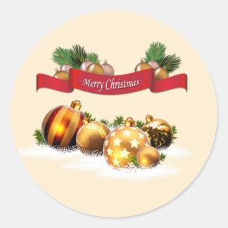 Vrolijke Kerstmis Ronde Stickers