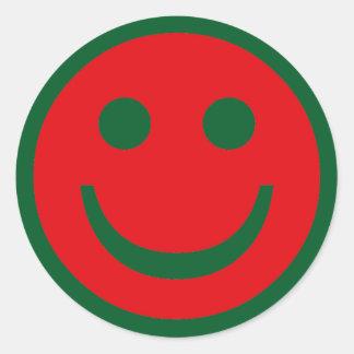 Vrolijke Kerstmis Smiley Ronde Stickers