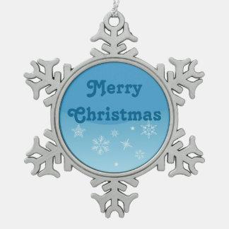 Vrolijke Kerstmis Tin Sneeuwvlok Ornament