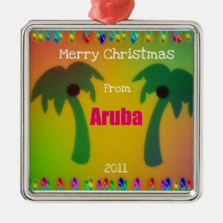 Vrolijke Kerstmis van Aruba 2011 Zilverkleurig Vierkant Ornament