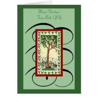 Vrolijke Kerstmis van de Boom van de peer van Briefkaarten 0