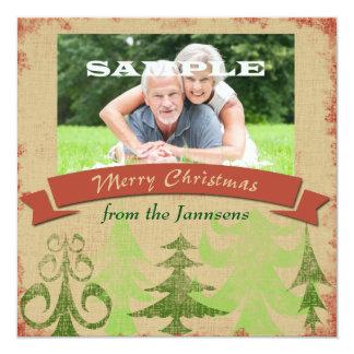 Vrolijke Kerstmis van de Grens van de Bomen van de Kaart
