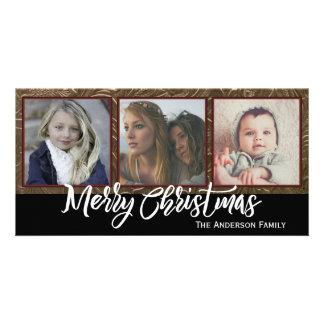 Vrolijke Kerstmis van drie Foto Kaart