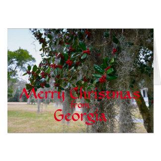 Vrolijke Kerstmis van Georgië (Rode Tekst) Briefkaarten 0