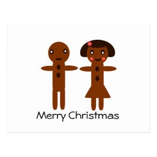 Vrolijke Kerstmis van het Man en van het Meisje Briefkaart