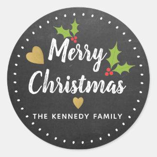 Vrolijke Kerstmis van het rustieke Bord Ronde Sticker