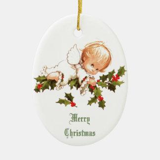 Vrolijke Kerstmis Weinig Engel Keramisch Ovaal Ornament
