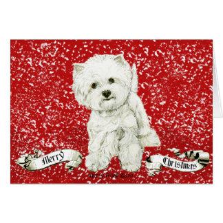 Vrolijke Kerstmis Westie Briefkaarten 0