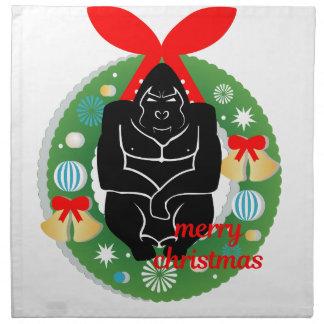 vrolijke Kerstmisgorilla Katoenen Servet
